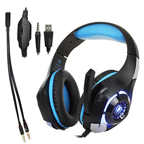 Auriculares estéreo para Juegos para PS4, PC, Mando Xbox One, Auriculares con cancelación de Ruido, micrófono, Luces LED, Envolvente de Graves, Brazos de Memoria Suave