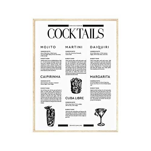 Signature Boissons Affiche De Cocktail Style Nordique Minimaliste Murale Art Tableau De Cocktail Affiches Bar Comptoir Toile Tableau Peinture Decoration 50x70cmx1 sans Cadre