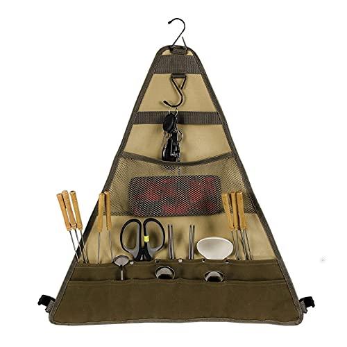 mewmewcat Organizador suspenso para acampamento ao ar livre para piquenique e sacola de armazenamento para churrasco para utensílios de mesa.