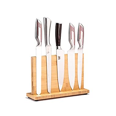 Magnetic Kitchen Knife Block(Natural Bamboo),Knife Holder,Knife Organizer Block,Knife Dock,Cutlery Display Stand and Storage Rack,Kitchen Scissor Holder,Large Capacity,Double Side Strongly Magnetic