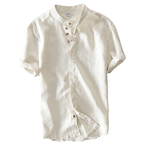 Icegrey Camicia Uomo Camicie di Lino a Maniche Corte con Collo Coreana Henley Shirt Beige 48