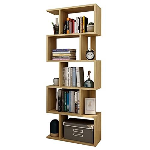 Librería en forma de S Estantería de almacenamiento de 5 niveles Estante de exhibición independiente para el hogar sala de estar oficina entrada pasillo Estilo rústico industrial 67 pulgadas de alto
