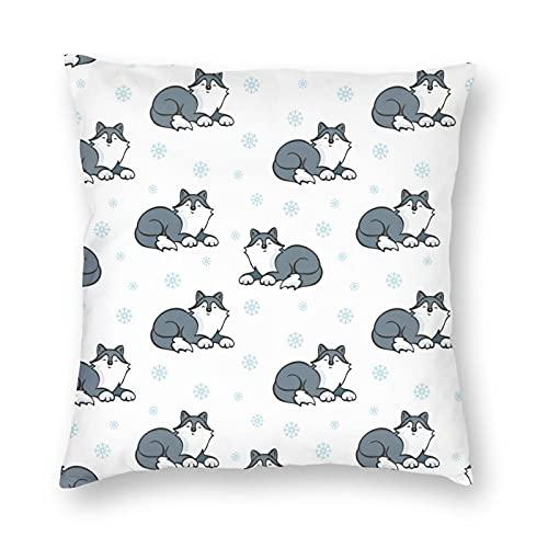 Nixboser Funda de almohada de poliéster con diseño de perros Husky con diseño de dibujos animados para decoración del hogar para sofá, sala de estar, cama, coche, tamaño de 26 x 26 pulgadas