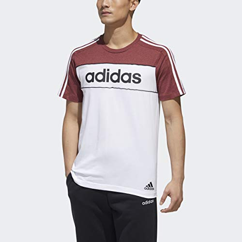 adidas Essentials Tape Camiseta, Rojo/Blanco/Negro, XS para Hombre