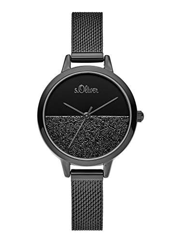 s.Oliver Damen Analog Quarz Uhr mit Edelstahl Armband SO-3744-MQ