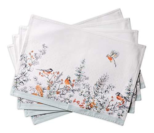 Maison d' Hermine Whitish Shabby Chique 100% Baumwolle Set mit 4 Tischsets für den Esstisch | Küche | Hochzeit | Alltag | Dinnerpartys | Thanksgiving/Weihnachten (33 cm x 48 cm)