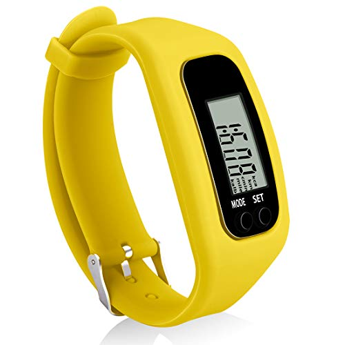 Bomxy Fitness Tracker Watch, Operation Walking Running Pedometer with Calorie Burning and Steps Counting (ff66-Yellow)
