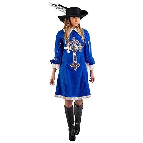 Elbenwald Königliche Musketier Lady Kostüm Kleid Damen blau zum Karneval