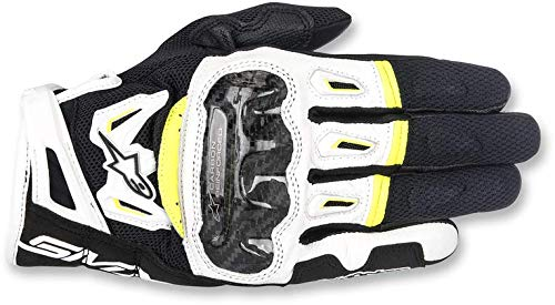 Gants Moto Alpinestars SMX-2 Air Carbon V2 Glove Black White Yellow Fluo, Noir/Blanc/Jaune, M