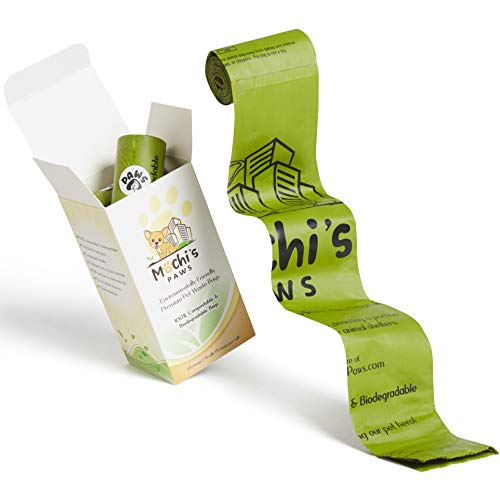 Mochi's Paws 100% Compostable Dog Waste Bags, Biodegradable Dog Poop Bags | 8 Rolls/120 Earth...