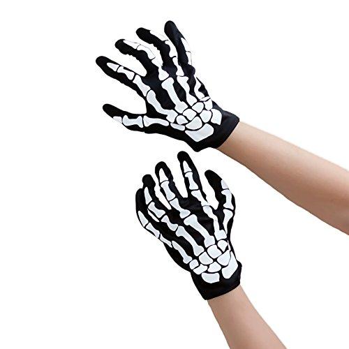 Oblique-Uniuqe® Skelett Handschuhe Schwarz Einheitsgröße Mann & Frau - Fasching Karneval Helloween