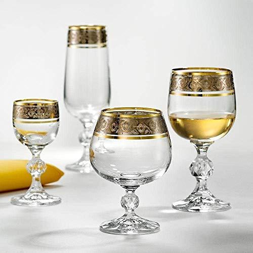 Bohemia Claudia Exclusive Weißweingläser Kristallglas Weinglas 190 ml Gold Platin 6er Set