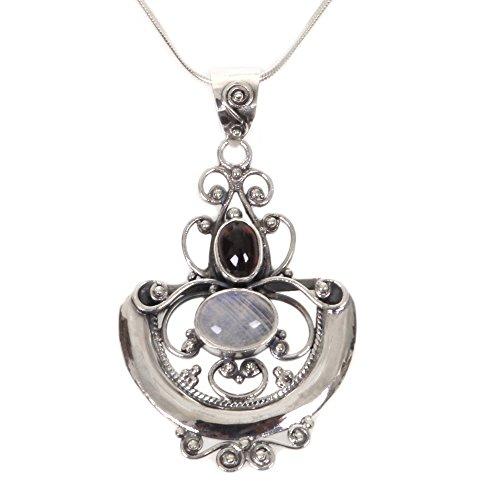 NOVICA .925 Sterling Silver Rainbow Moonstone and Garnet Pendant Necklace, 17', Arabesque'