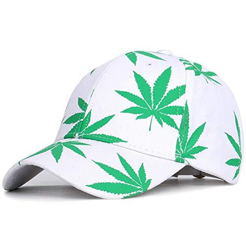 BAJSKD Frühling und Sommer Mode Stickerei Ahornblatt weiße Kappe Weed Snapback Hüte für Männer FrauenHip Hop Baseball Caps Baseball Cap