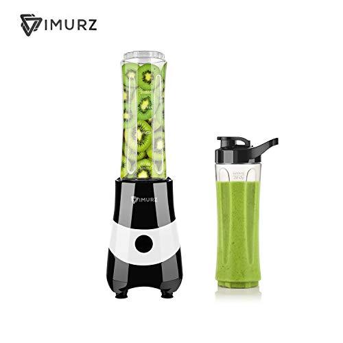 IMURZ Mixer Smoothie Maker mit 2 Flaschen, 350W Multifunktion Mini Standmixer, Personal Blender Elektrisch mit 4-lügelig Edelstahlmesser, 600ml Becher BPA Frei für Büro, Turnhalle, Picknick