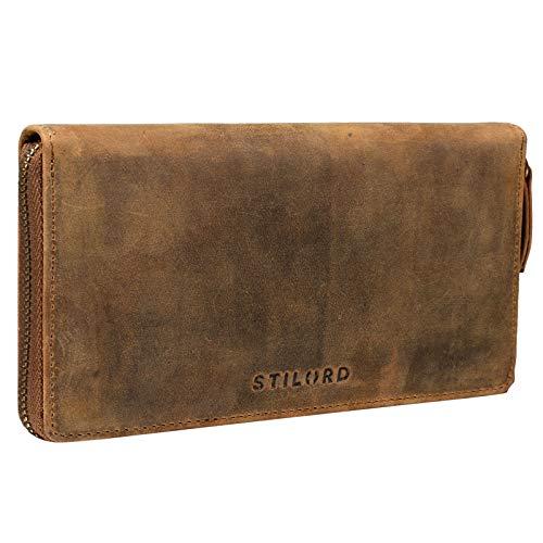 STILORD 'Emilia' Damen Portemonnaie RFID Schutz Elegante Klassische Geldbörse groß aus echtem Rindsleder, Quer mit Reißverschluss Leder, Farbe:mittel - braun