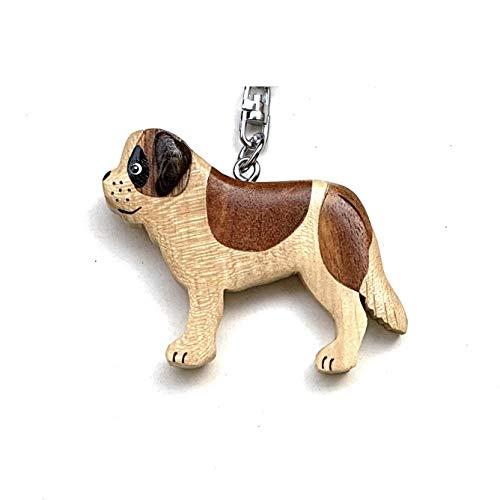 JA Horse handgemachte hölzerne Schlüsselanhänger Anhänger Haustier Hund, Katze, Maus (07 Hund - saint bernard)