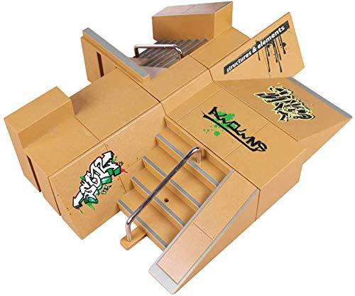 HilMe 4-teiliges Skateboard-Set, Rampen-Teile, Mini-Fingerskateboard, Ultimate Parks, Trainingsrequisiten für Heimwerker, Kinder-Geschenk, B, Free Size