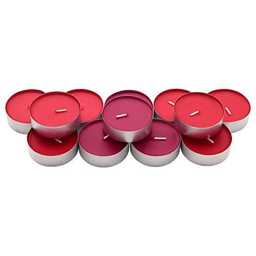 IKEA ASIA SINNLIGHT - Vela perfumada en Taza de Metal, diseño de Bayas de jardín Rojas, Color Rojo