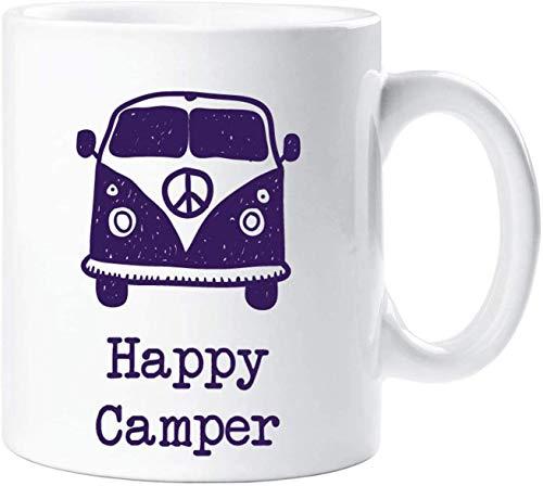 N\A Happy Camper Mug Camper Van Camping Hobby Novedad Regalo