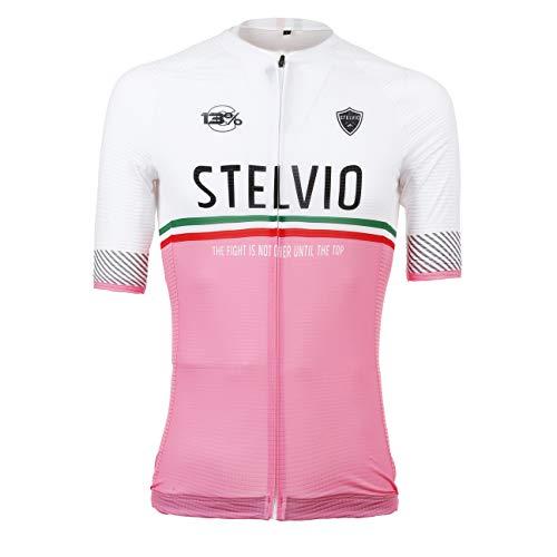 Level Jersey Stelvio, Maglia da Ciclismo Tricolore, Rosa e Bianco, Unisex (S)