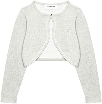 Bolerose Girls Long Sleeve Sparkle Cardigan Childrens Kids Bolero Shrug Silver 7 8 YRS product image