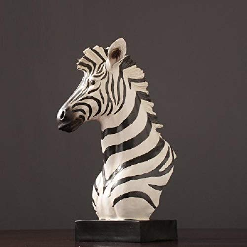 Estatuas para jardín Caballo Cebra Busto Estatua Estatuilla Corcel Animales Arte Escultura Resina Arte y artesanía Decoración del hogar Accesorios para Sala de Estar -35.5x28.5x54cm