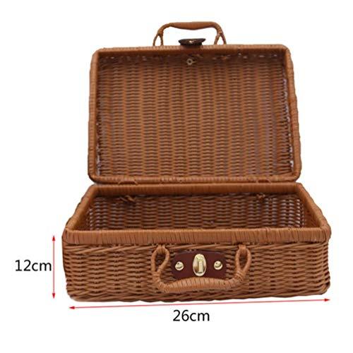 HUADUO Cesta de Picnic de Viaje Caja de Almacenamiento de Mimbre Hecha a Mano Accesorios de Maleta Vintage Caja de Tejido Cajas de bambú Organizador de ratán al Aire Libre, Marrón, 22X17X11CM