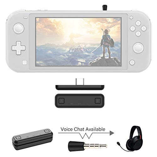 WeChip Route Air Voice Chat Bluetooth Audio USB Transceiver Adapter NS07 Pro fur Nintendo SwitchSwitch Lite PS4 PC 5 mm verzogerungsfrei Plug and Play Schwarz
