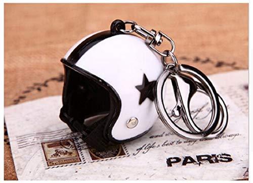 Familienkalender offener Helm ohne Visier Schlüsselanhänger mit Stern in Weiss Motorrad | Moped | Geschenk für Männer | Sturzhelm | Motorradhelm | Schutzhelm