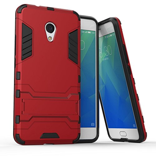Ougger Custodia per Meizu M5s Custodia Case, Protettivo Estrema Assorbimento Urti [Kickstand] Armatura Cell Cover Duro PC + Morbido TPU Leggero Gomma 2in1 Back Gear Rear Rosso