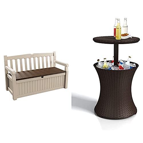 Keter Eden Garden Bench - Banco Arcón Exterior, Capacidad 265 L, Color Marrón Y Beige + Pacific Cool Bar - Mesa Nevera para Jardín, Color Marrón
