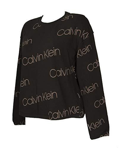 Calvin Klein CK Sudadera de algodón con Cuello Redondo y Manga Larga para Mujer artículo QS6515E L/S Sudadera, 96Y Diagonal Icon Logo Print Black, L