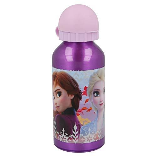 ML Botella de Agua de Aluminio para niños y niñas, Princesa del Hielo cantimplora a Prueba de Fugas sin BPA para Levar a la Escuela y Deportes el Termo 400ml Fuxia