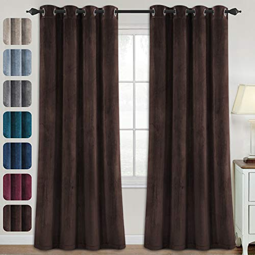 Luxury Velvet Curtains for Living Room 84 Inches Room Darkening Super Thick Soft Velvet Textured Window Curtain Drapes Thermal Insulated Grommet Decoration 2 Panels, Each 52 x 84 Inch, Brown