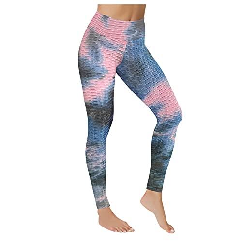 Pistaz Leggings Honeycomb para mujer, parte trasera fruncida, cintura alta, pantalones de yoga, elegantes con control de abdomen, gimnasio, Negro , 40W regular