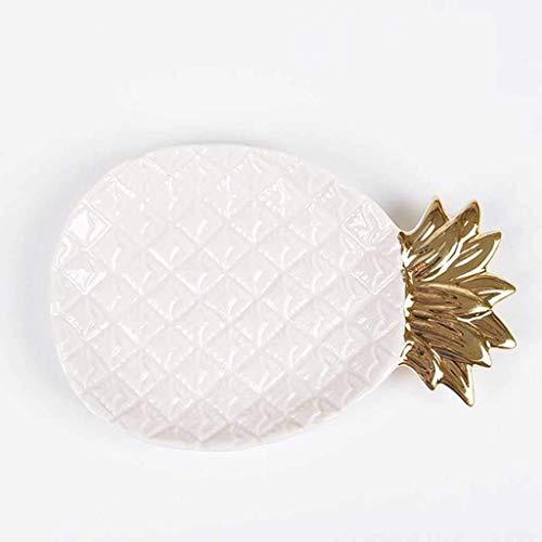 クリエイティブゴールドセラミック収納トレイゴールデンパイナップルジュエリーパレットフードパレットドライフルーツプレート家の装飾プレート (Color : B)
