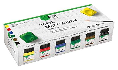 Kreul 75600 - Acryl Mattfarben im Set, cremig deckende, schnelltrocknende Farbe auf Wasserbasis, für viele verschiedene Untergründe geeignet, 6 x 20 ml Farbe und ein Pinsel