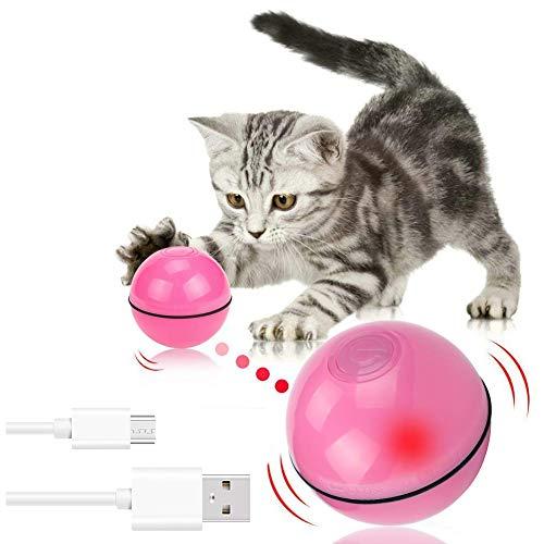 Homealexa Katzenspielzeug Elektrisch Katzenball interaktives Spielzeug für Katzen, Automatischer Rollender Ball mit LED Licht USB-Aufladung (Rot)