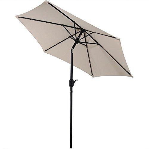 Sunnydaze 7.5 Foot Outdoor Patio Umbrella with Tilt & Crank, Aluminum, Beige