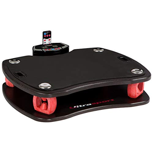 Ultrasport Vibrationsplatte 3D,Rüttelplatte für effektives Fitness Training, bis 100 kg belastbar, Vibrationsplatte mit Fernbedienung und Trainingsbändern, ideales Tiefenmuskulaturtraining