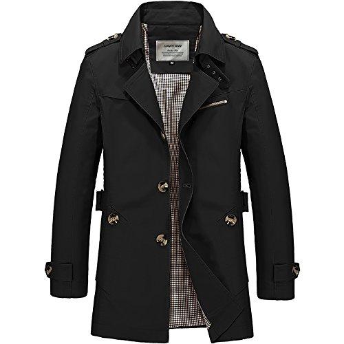 DAVID.ANN Men's Windbreaker Notch Lapel Single Breasted Coat,Black,Small