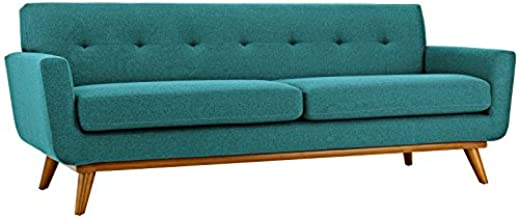Modway Engage Mid-Century Modern Upholstered Fabric Sofa in Teal
