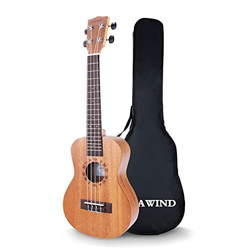 mahogany ukuleles HUAWIND Concert Ukulele Ukeleles for Beginners Mahogany 23 Inch Hawaiian Starter ukeleles for Kids Adults Child Guitar Ukalalee With Gig Bag (Letter Pattern)