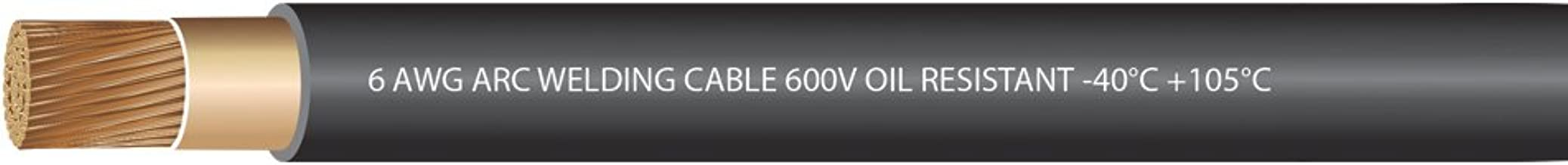 EWCS 6 Gauge Premium Extra Flexible Welding Cable 600 Volt - Black - 25 Feet - Made in the USA
