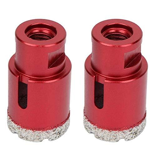 LF&LQEW 2pcs de vacío en seco con Soldadura de latón Diamante Broca de Granito, mármol Agujero abridor M14 bit Taladro de Rosca de 35 mm Corona del azulejo (Color : Rojo)