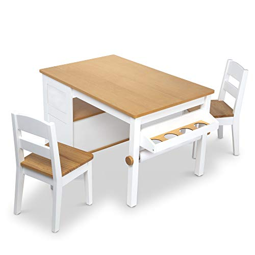 Melissa & Doug Wooden Art Table and 2 Chairs Set – Kids Furniture for Playroom, Light Woodgrain and White 2-Tone Finish