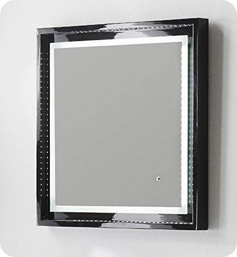 Fresca Platinum Wave 24' Glossy Black Bathroom Mirror with LED Lighting & Fog-Free System