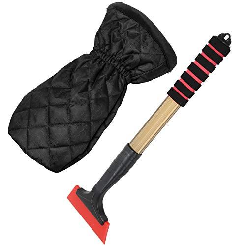 COITEK - Manopla rascadora de Hielo para Parabrisas, 42 cm de extensión, rascador de Nieve con Guante Separable, Pala quitanieves Impermeable para Coche, Color Negro