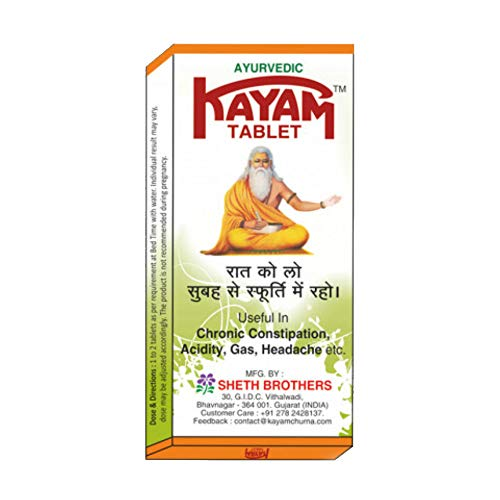 Kayam Churan Churna Tablets for Constipation Acidity Ayurveda 10 Tablets